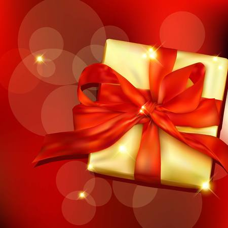 donative: Gift box with ribbon and bow. Illustration