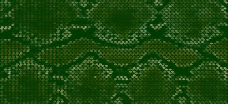 Green seamless snake skin pattern for background design.  Vector