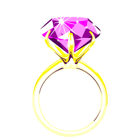 solitaire: Solitaire - diamond ring illustration.