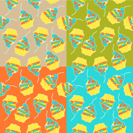 contemporary taste: Sweet cake. Seamless pattern.  Illustration