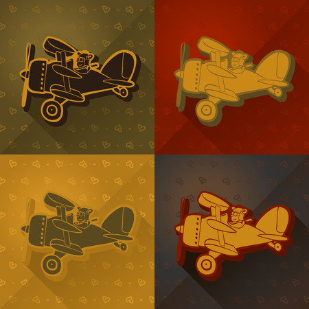 Helicopter. Cute Hand Drawn Vector illustration, Vintage Paper Texture Background Vector