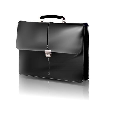 black briefcase:   black briefcase.  Illustration