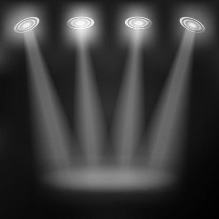 floodlight: Light grey background with spotlights. Illustration