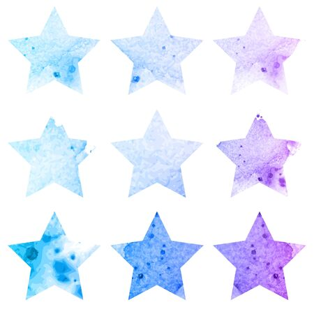 five pointed: Shining watercolor stars icon set. Vector illustration Illustration