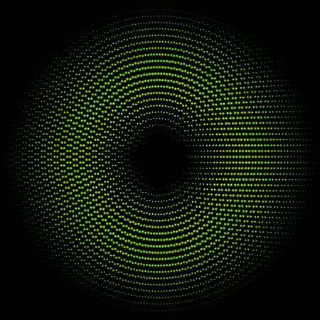 abstract waves background: Green circle of halftone