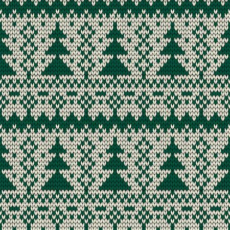 Christmas seamless knitted background. Vector