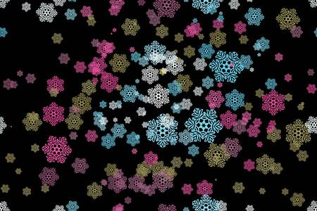 Seamless pattern of snowflakes on a black background Vector
