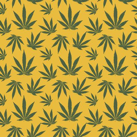 vector seamless pattern of cannabis leaf