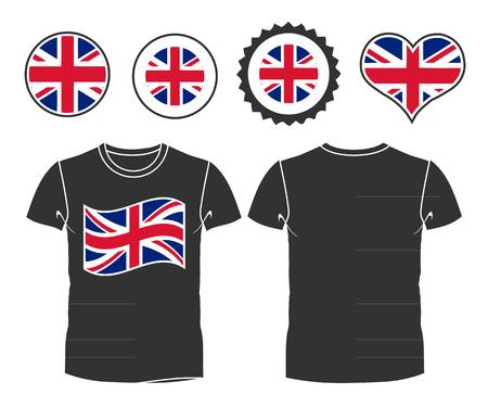 T-shirt with flag of UK. vector illustration Vector
