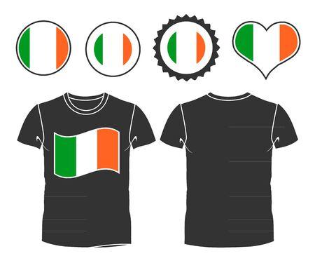 ireland flag: Small shirt with Ireland flag isolated on white background