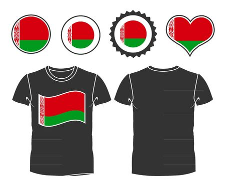 Business man rips open his shirt to show his Belarus flag t-shirt Illustration