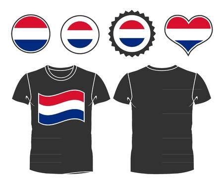 open shirt: Business man rips open his shirt to show his Dutch flag t-shirt Illustration