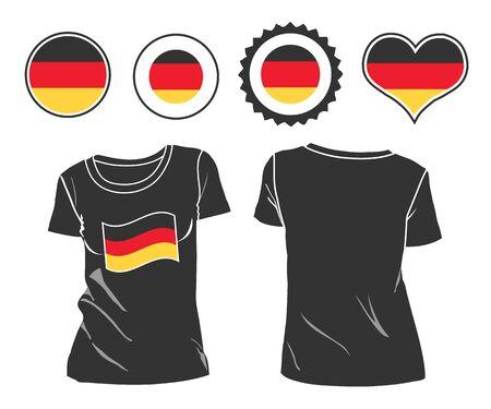 german flag: German flag design template of two-color polo shirts.