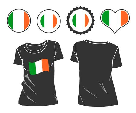 small business woman: Small shirt with Ireland flag isolated on white background