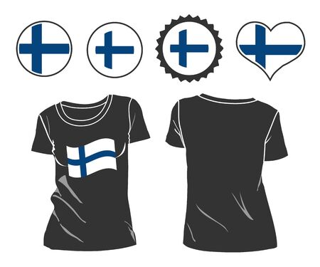 male model torso: t-shirt with the flag of Finland. vector illustration. 10 eps