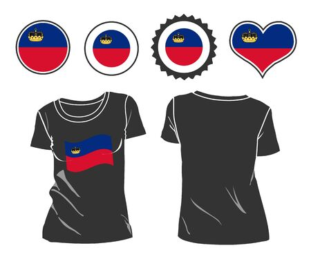 open shirt: A Liechtenstein businessman rips open his shirt and shows how patriotic he is by revealing his countries flag beneath printed on a t-shirt Illustration