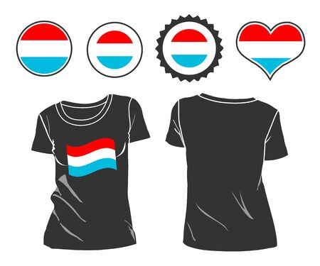 open shirt: A Luxembourg businessman rips open his shirt and shows how patriotic he is by revealing his countries flag beneath printed on a t-shirt Illustration
