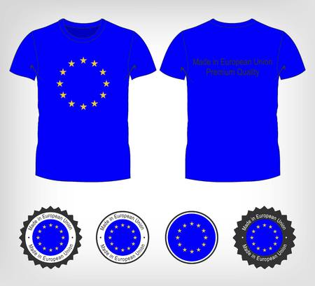 Man stretching jacket to reveal shirt with European Union flag printed. Vector