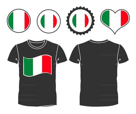 open shirt: Businessman rips open his shirt to show his Italian flag t-shirt