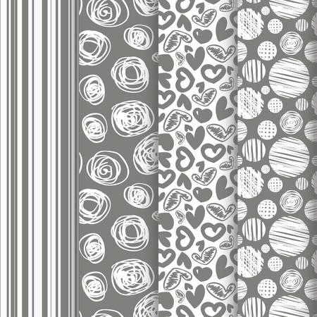 4 Retro different seamless patterns.