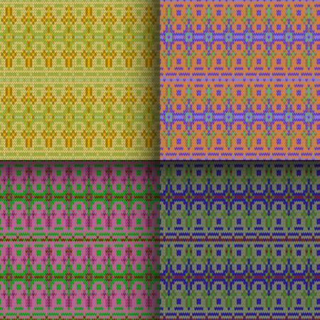 scandinavian christmas: set of traditional christmas knitted Scandinavian seamless patterns
