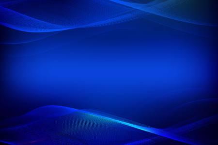 Vectorillustratie van blauwe abstracte achtergrond met vage magische neonlicht gebogen lijnen