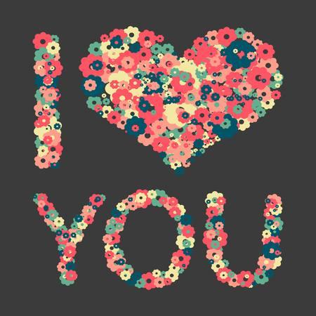 Grunge heart with text I love you. Vector illustration. i love you Ilustração
