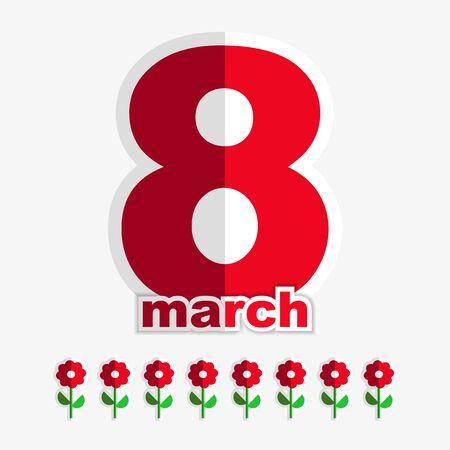 bovenaanzicht plant: 8 maart Vrouwendag kaart met florale elementen. Handgeschreven tekst. Roze achtergrond met lijnen.