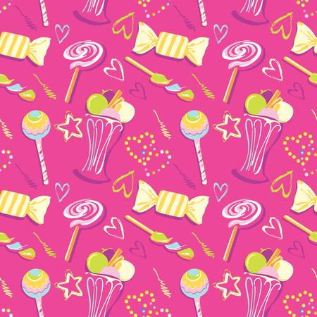 Sweet seamless pattern. seamless pattern of hearts in candy style Ilustração