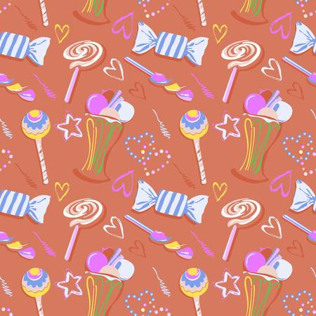 Sweet seamless pattern. seamless pattern of hearts in candy style Vector