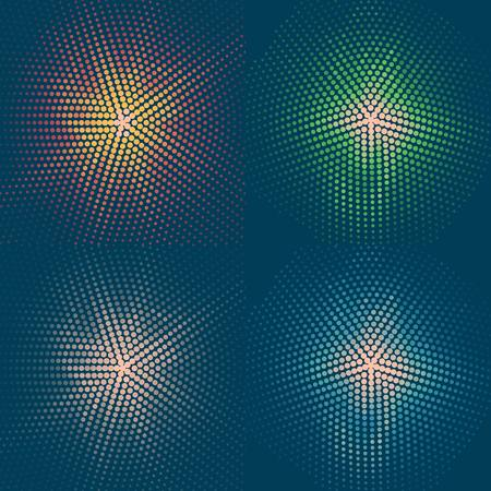set of four coloured flashes on a blue background. Vector