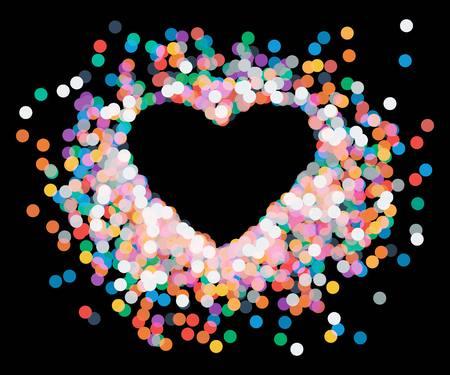 falling down: Vector heart shaped confetti falling down, heart confetti Illustration