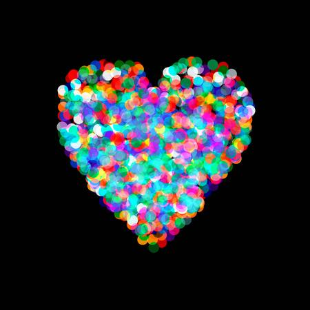 shaped: Vector heart shaped confetti falling down, heart confetti Illustration