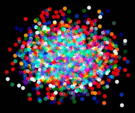 trumpery: colored vector confetti on black background.