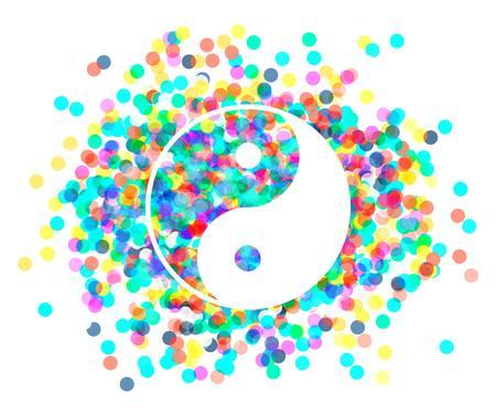 taoist: the Yin Yang of confetti. Vector illustration.  Illustration