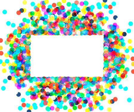 rectangular: a rectangular frame of colored confetti.