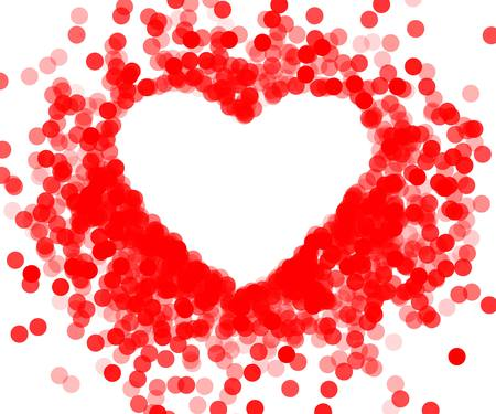 shiny heart: Red frame with shiny heart, frame heart-shaped confetti