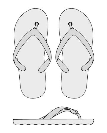 Flip flops isolated on a white background. vector black and white flip flops Illustration