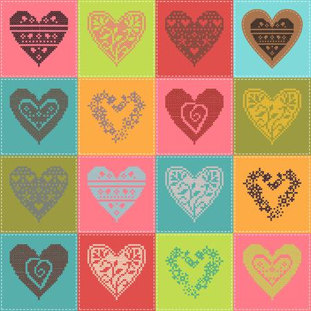 snippet: pattern with collection hearts in vintage patchwork style. 10 eps
