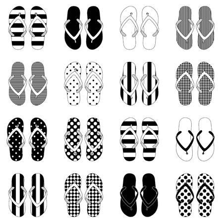 flops: Pop Art style flip flops in a colorful checkerboard design. Illustration
