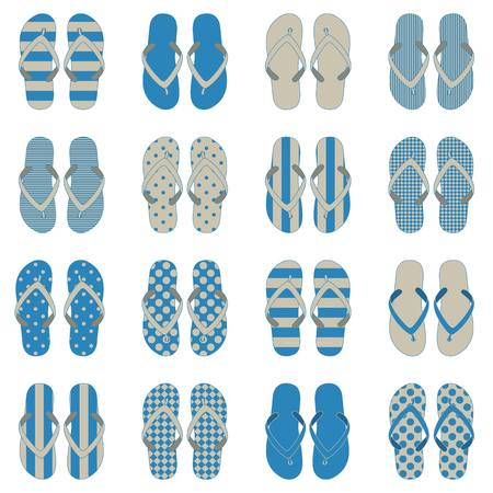 footware: Pop Art style flip flops in a colorful checkerboard design.  Illustration