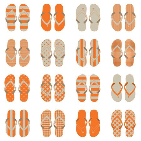 youthful: Pop Art style flip flops in a colorful checkerboard design. Illustration