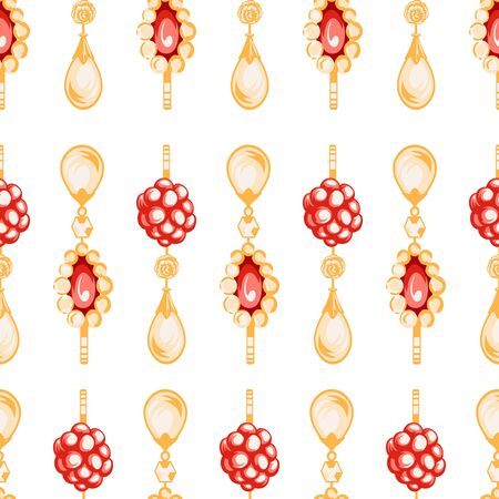 pendants: Shiny ruby heart pendants hanging with golden chains and colorful bows seamless pattern