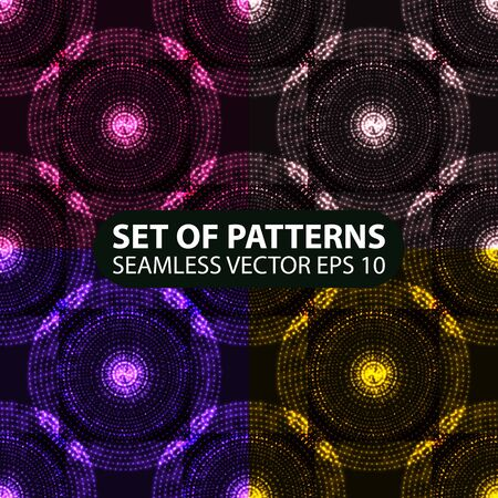 set of 4 seamless glowing ethnic patterns. Vector