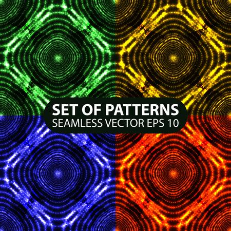 set of 4 seamless glowing ethnic patterns. 10 eps Vector