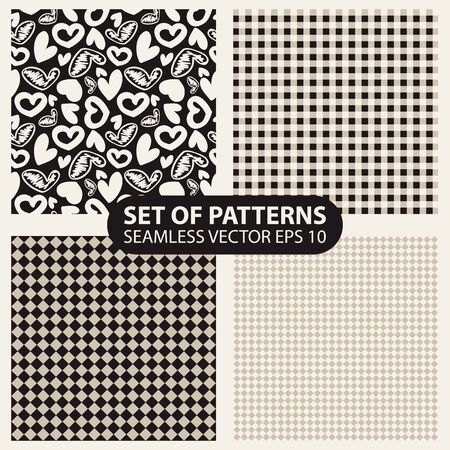 whote: set of seamless patterns from cells and hearts.