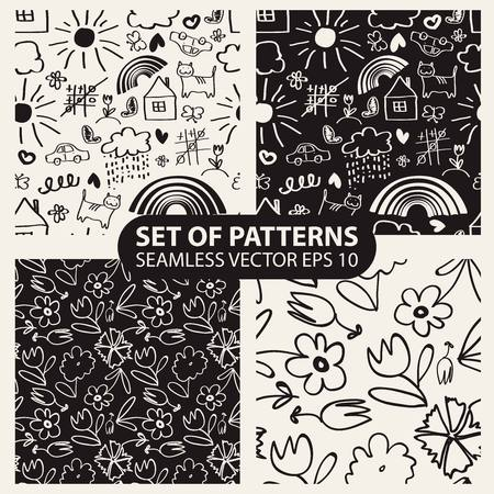 set of seamless hand drawn patterns in the style of children. 10 eps Vector