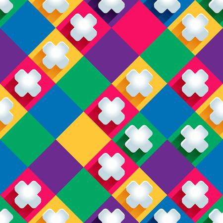 crosses: seamless pattern from paper crosses on a colored background. Illustration