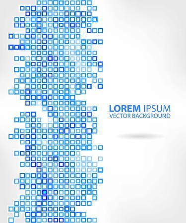 urban sprawl: Blue abstraction, composed of blue bricks, different shades. Illustration