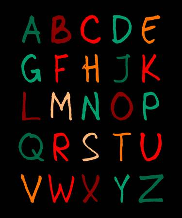 handwriting: alphabet. English  color handwriting alphabet. 10 eps